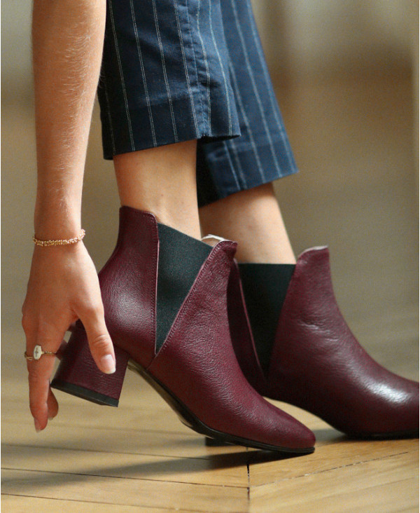 Bottines Femme Rouges Rina Burgundy Chaussures Femme petites pointures italie