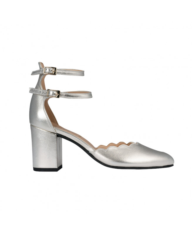 Silver mary jane pump with ankle strap