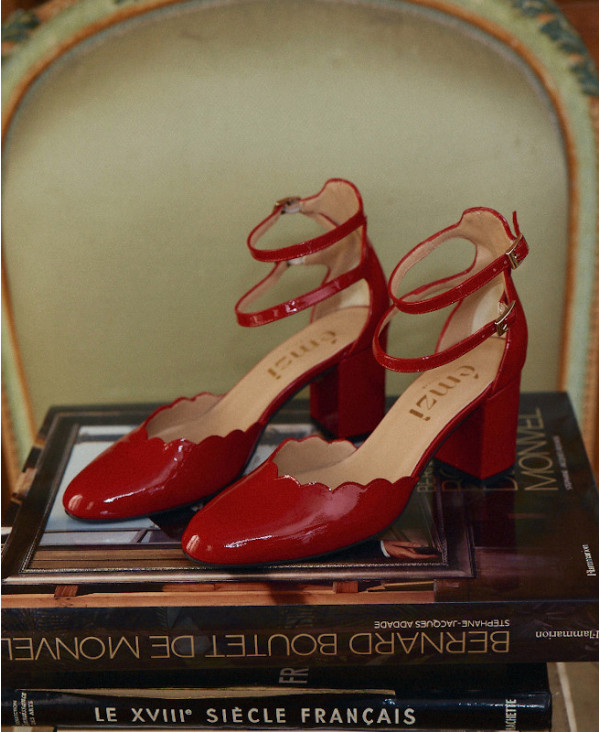 Red mary jane pump in patent leather FLAVIE RED - petite shoes size 2 - Small size women Shoes