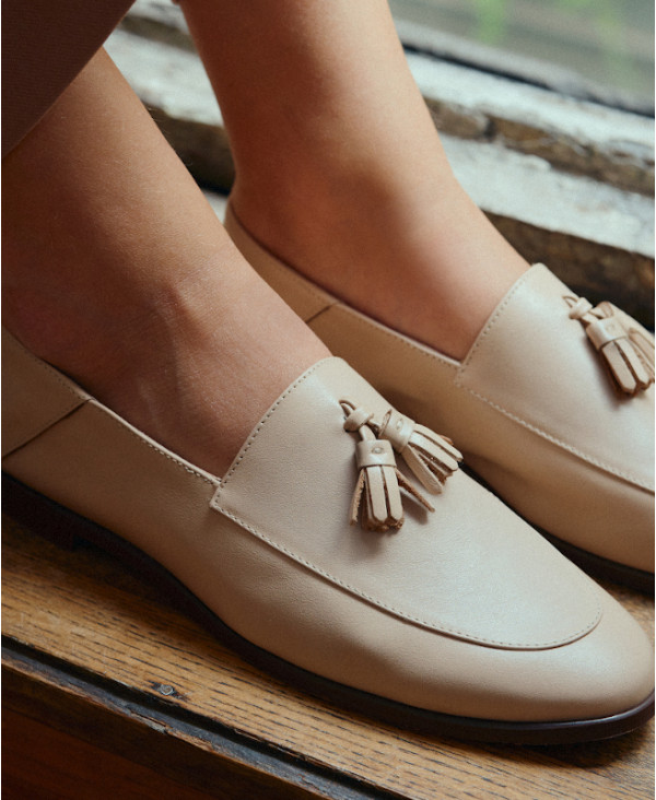 Nude loafers with pompon OLLI ALMOND - petite shoes size 2 - Small size women Shoes
