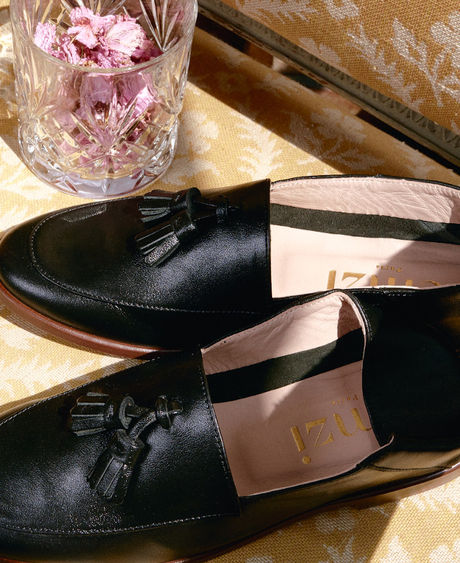 Black leather loafers with pompon detail OLLI BLACK - petite shoes size 2 - Small size women Shoes