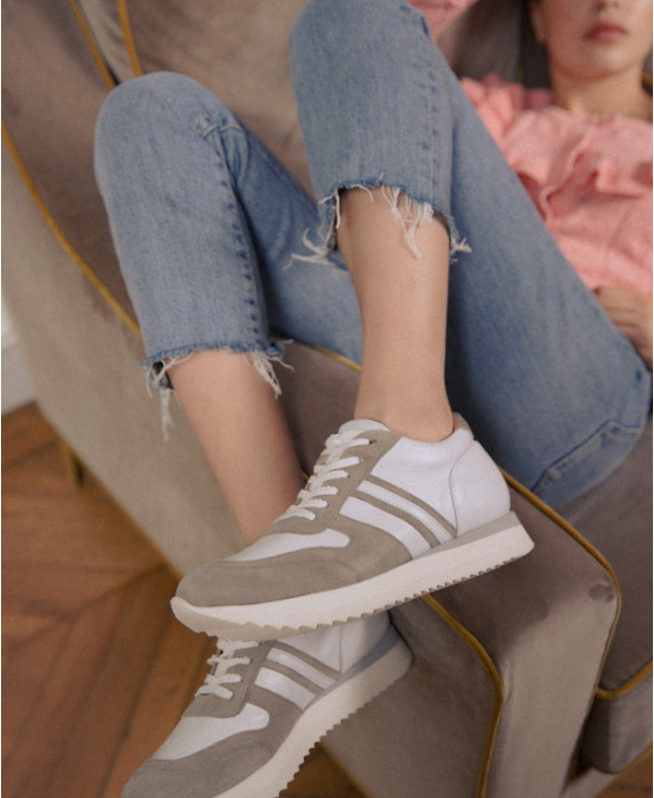 Wegde Trainers with Invisible heel and Luxury Leather POWER SASSO - petite shoes size 2 - Small size women Shoes