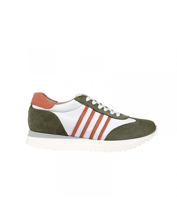 Wegde Trainers with Invisible heel and Italian Leather NAUC MOSS GREEN - petite shoes size 2 - Small size women Shoes