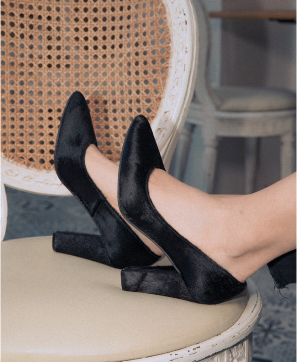 Black pumps Chunky Heel Pointed Toe RUBY PONY BLACK - petite shoes size 2 - Small size women Shoes