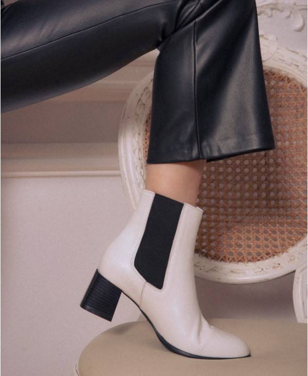 White Chelsea boots with chunky heel NATTIA WHITE - petite shoes size 2 - Small size women Shoes