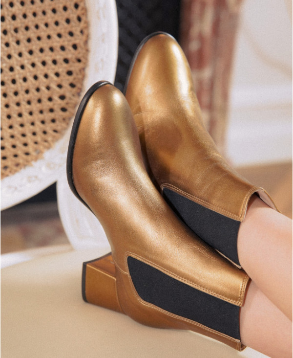 Gold Chelsea boots with chunky heel NATTIA BRONZE - petite shoes size 2 - Small size women Shoes