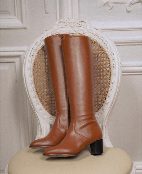 Camel leather knee boots with heel CAMEO CAMEL - petite shoes size 2 - Small size women Shoes