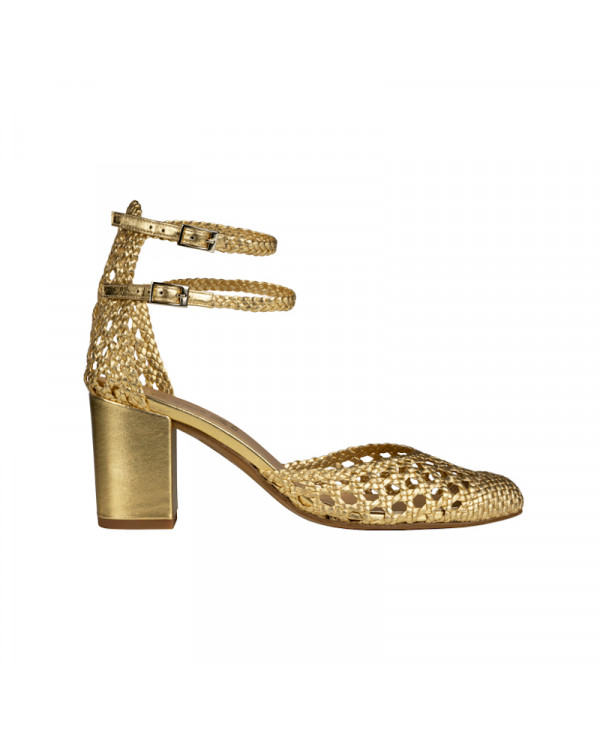 Metallic gold sandal in mary jane FLAVIE WOVEN GOLD - petite shoes size 2 - Small size women Shoes