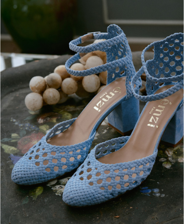Sky Blue mary jane sandal in woven leather FLAVIE WOVEN BLUE - petite shoes size 2 - Small size women Shoes