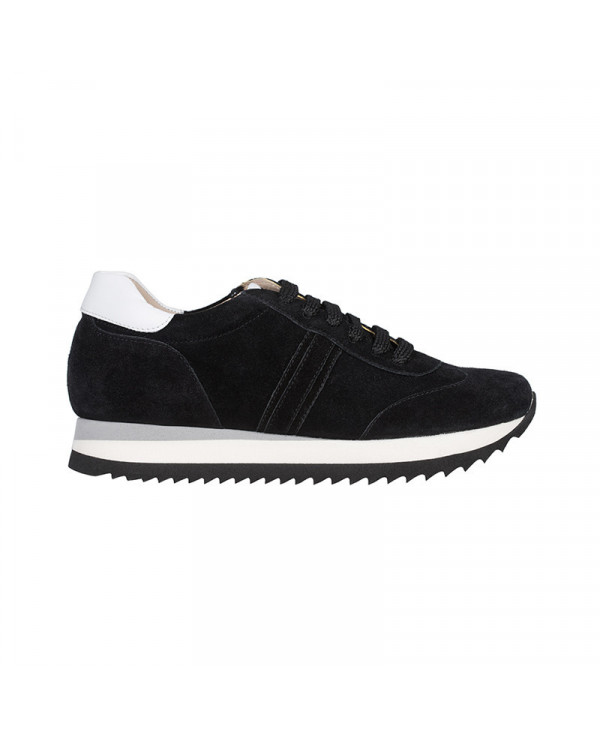 Black Wedge Trainers in suede with invisible wedge NAUC
