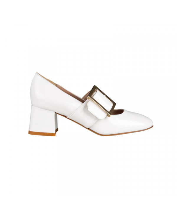 Chaussures Babies Femme blanches en cuir Rena White Chaussures Femme Petites Pointures Italie