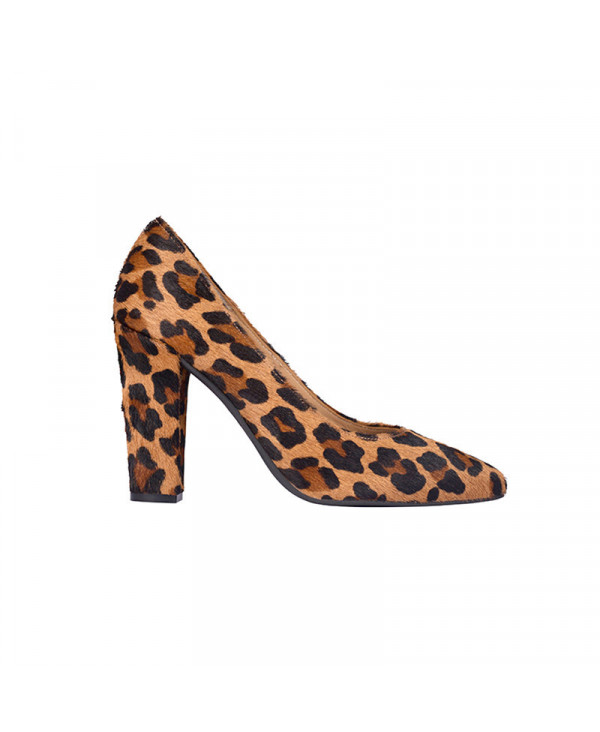 Leopard pumps Chunky Heel Pointed Toe RUBY LEOPARD