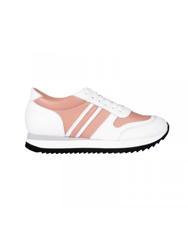 Baskets Femme Compensées Blanches et roses cuir Power Candy B Chaussures Femme Petites Pointures Italie
