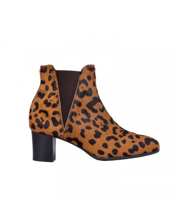 Leopard Chelsea boots in calf hair leather RELLA LEOPARD - petite shoes size 2 - Small size women Shoes