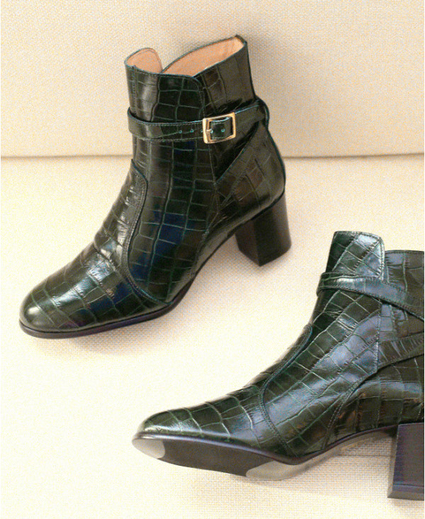 Green croco boots in leather with ankle strap KHARA CROCO - petite shoes size 2 - Small size women Shoes