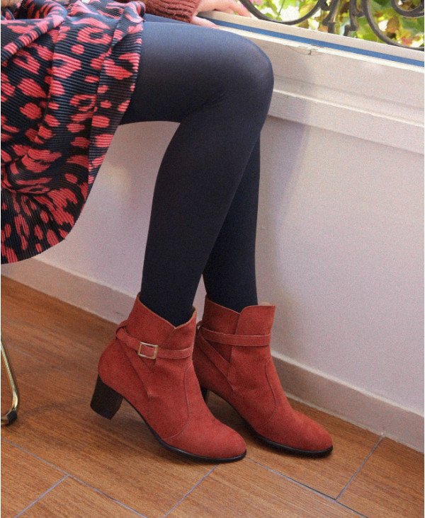 Terracotta boots in suede with strap KHARA MATTONE - petite shoes size 2 - Small size women Shoes