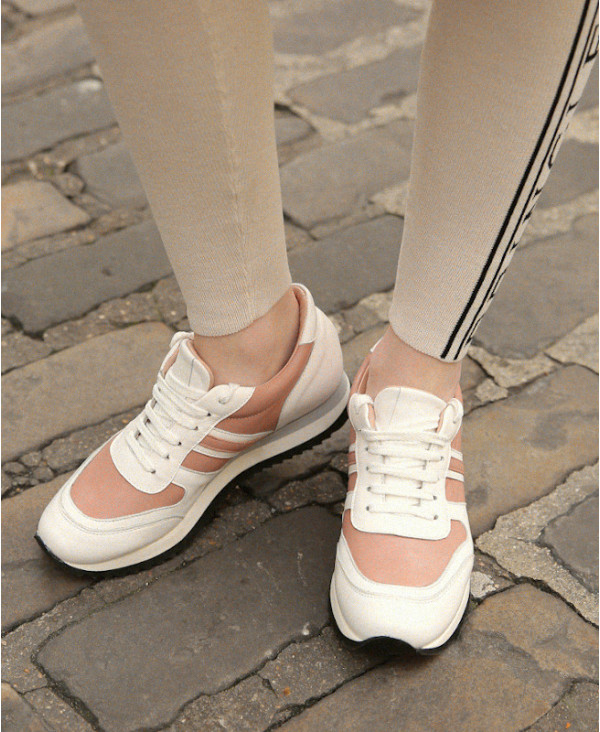 White wedge trainers in nappa leather POWER CANDY B