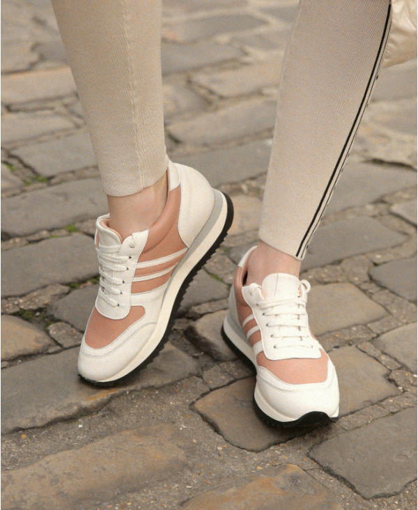 Chaussures Petites Pointures Italiennes Baskets Femme Compensées Blanches et roses cuir Power Candy B