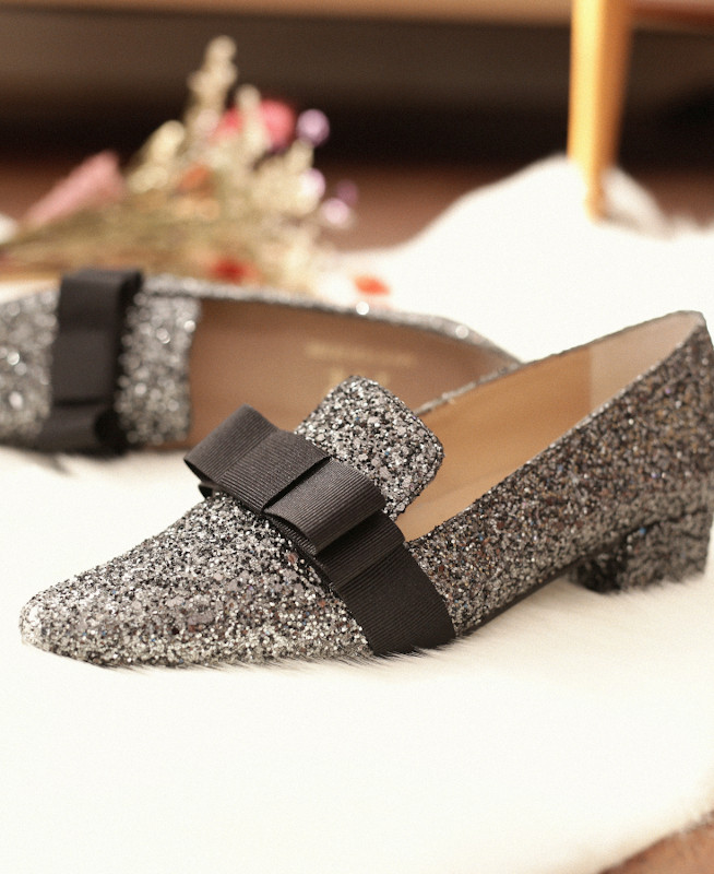 Glitter Shoes with pointed toe CLARA ECLIPSE