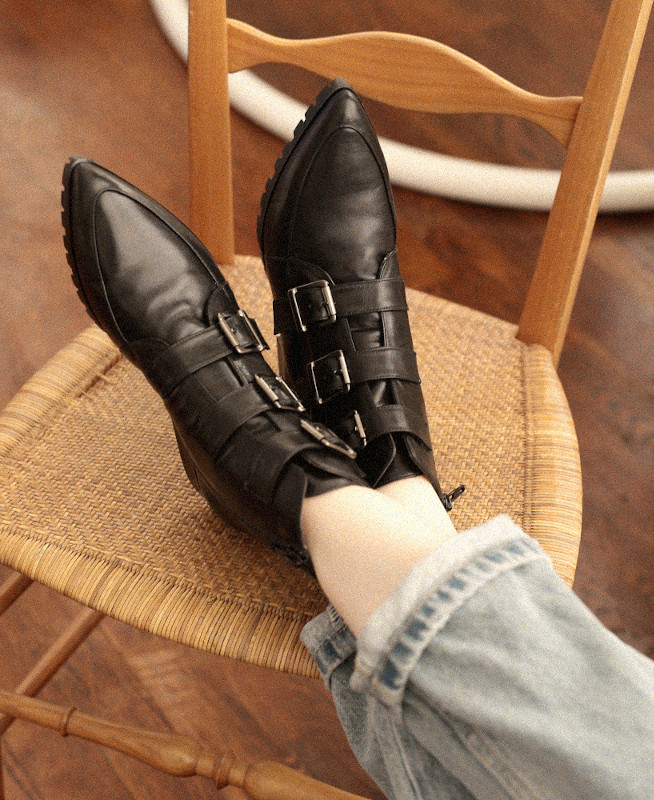 Black ankle boots in nappa leather with pointed toe and buckles IRIS BLACK - petite shoes size 2 - Small size women Shoes