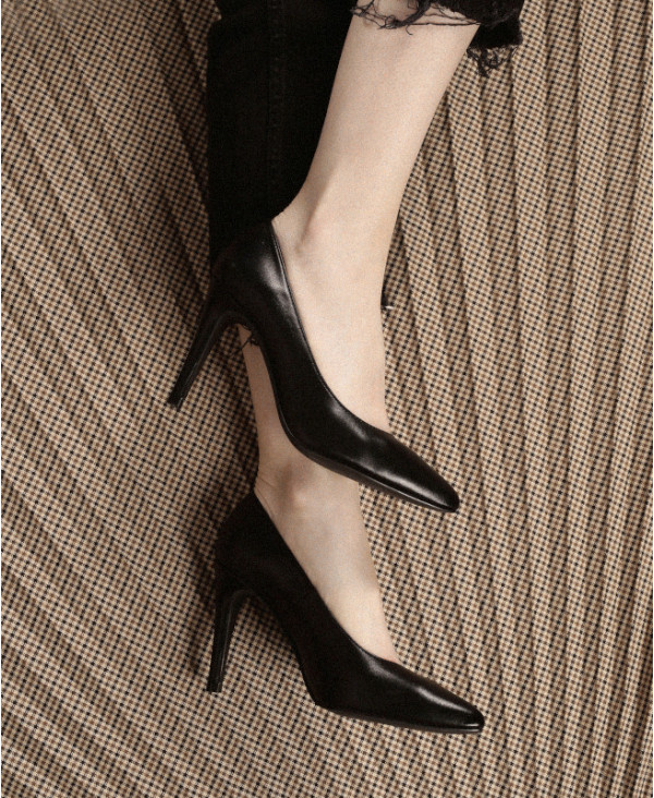 Black Pumps in nappa leather with high heels RAFA BLACK