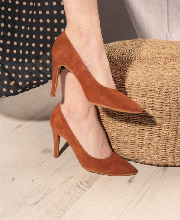 Brown pumps in suede with high heel RAFA CAMEL