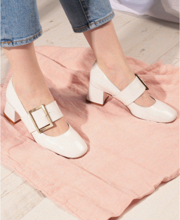 Chaussures Petites Pointures Italiennes Escarpin taille 34 Babies Femme blanches en cuir Rena White