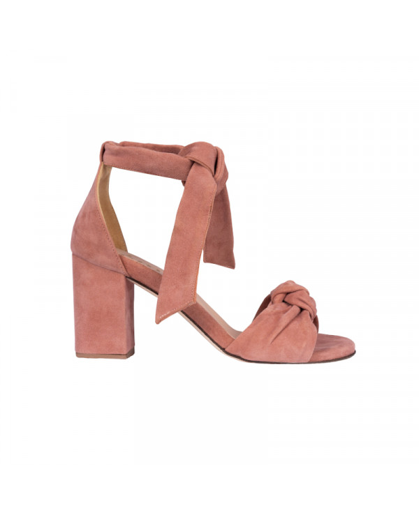 Pink sandals with high heel in suede leather LILIANE BLUSH