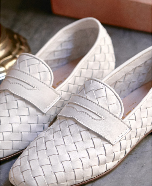 White loafers with Interweave leather PAULA WHITE