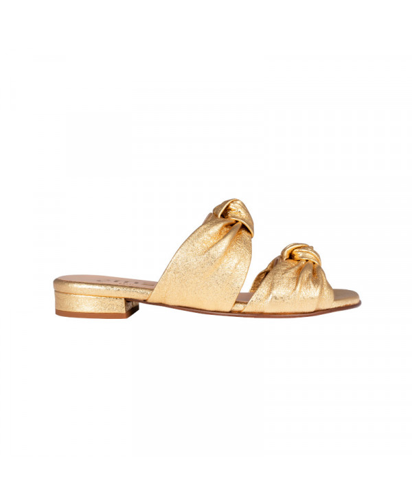 Gold mules in goat leather with double knot detail VIVI GOLD
